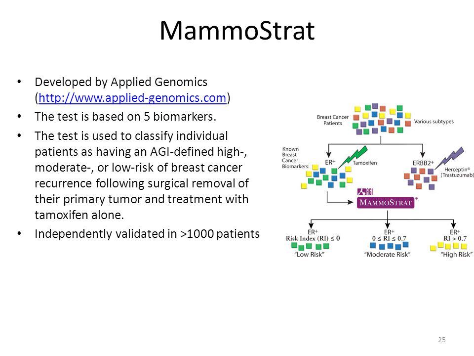 MammoStrat Developed by Applied Genomics (http://www.applied-genomics.com) The test is based on 5 biomarkers.