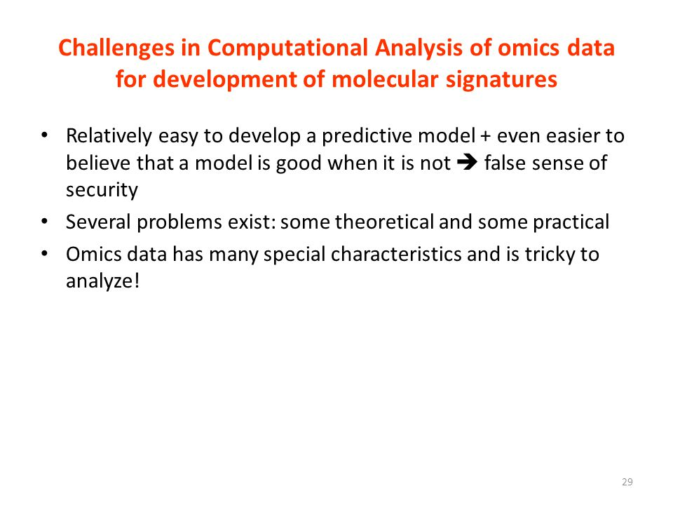 Challenges in Computational Analysis of omics data for development of molecular signatures