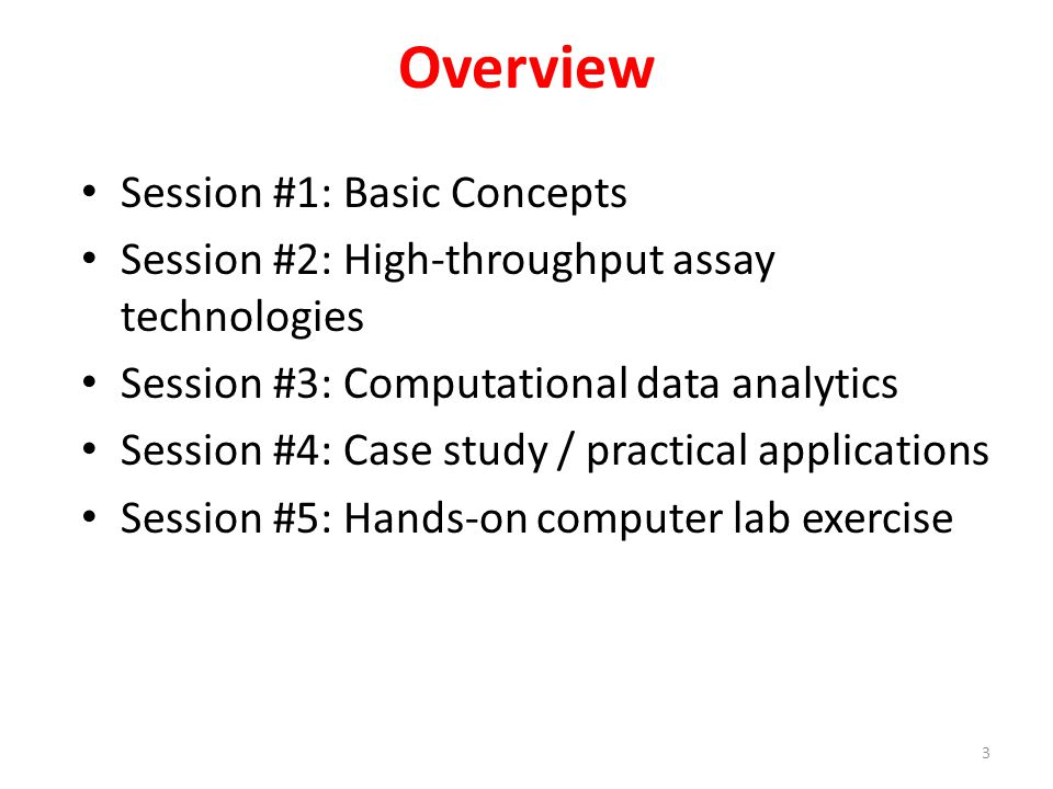Overview Session #1: Basic Concepts