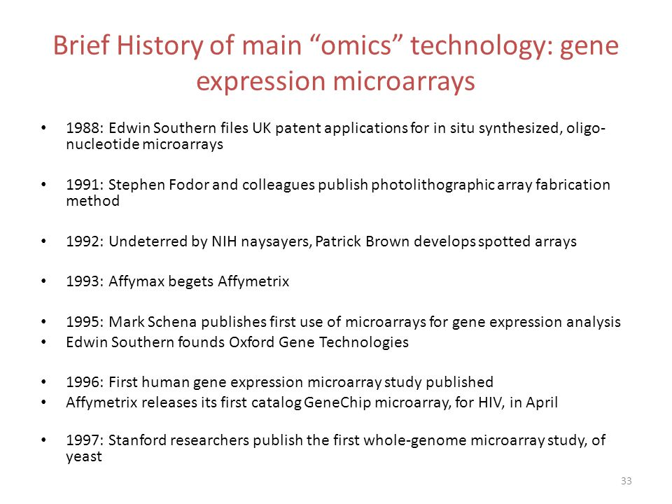 Brief History of main omics technology: gene expression microarrays