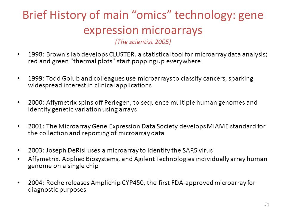 Brief History of main omics technology: gene expression microarrays (The scientist 2005)