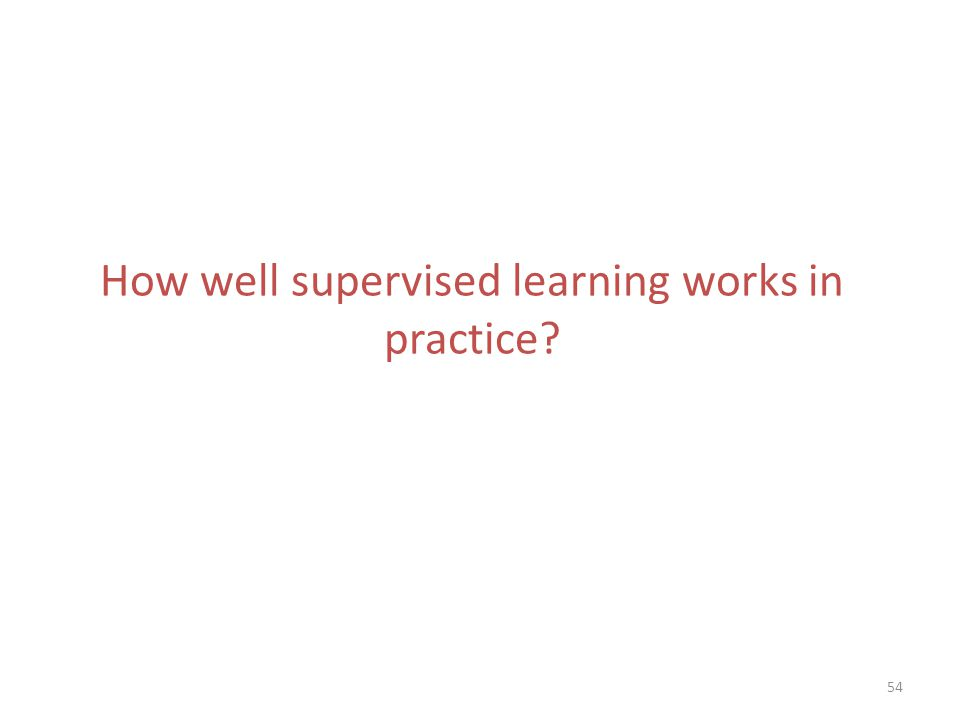 How well supervised learning works in practice