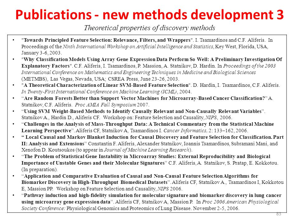 Publications - new methods development 3 Theoretical properties of discovery methods