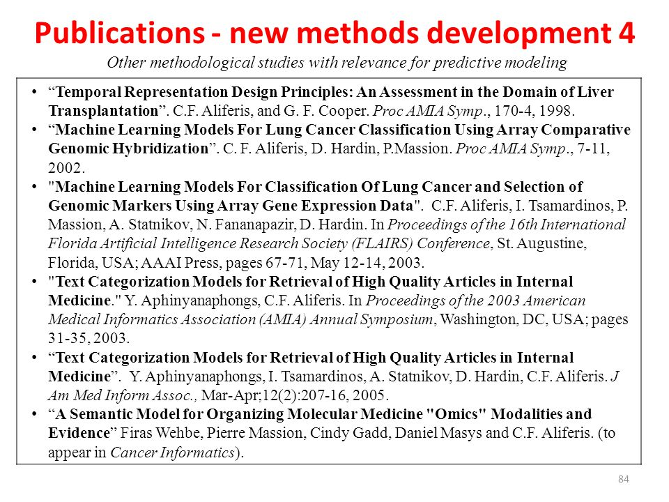 Publications - new methods development 4 Other methodological studies with relevance for predictive modeling