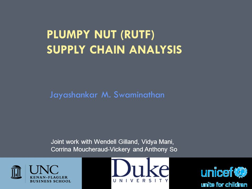 PLUMPY NUT (RUTF) Supply Chain ANALYSIS