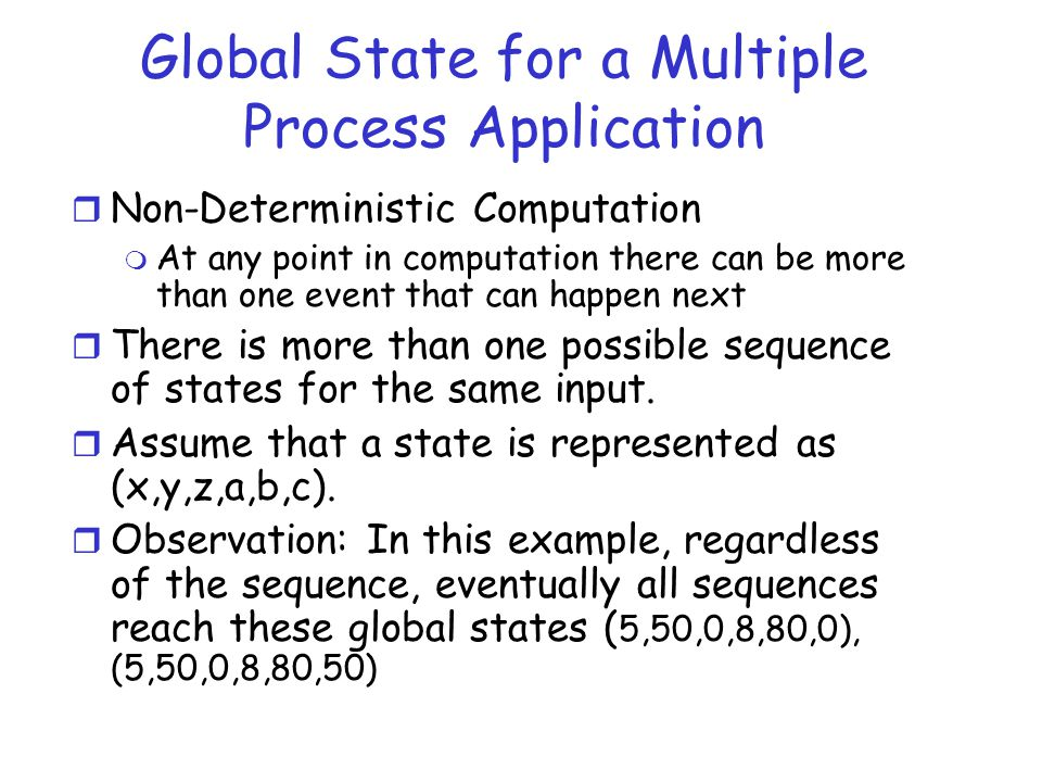 Global State for a Multiple Process Application