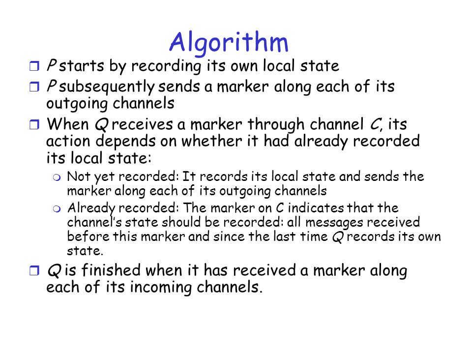 Algorithm P starts by recording its own local state