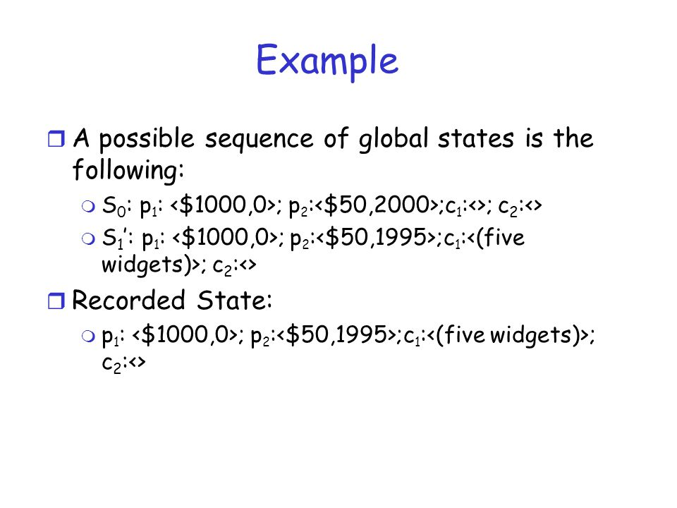Example A possible sequence of global states is the following:
