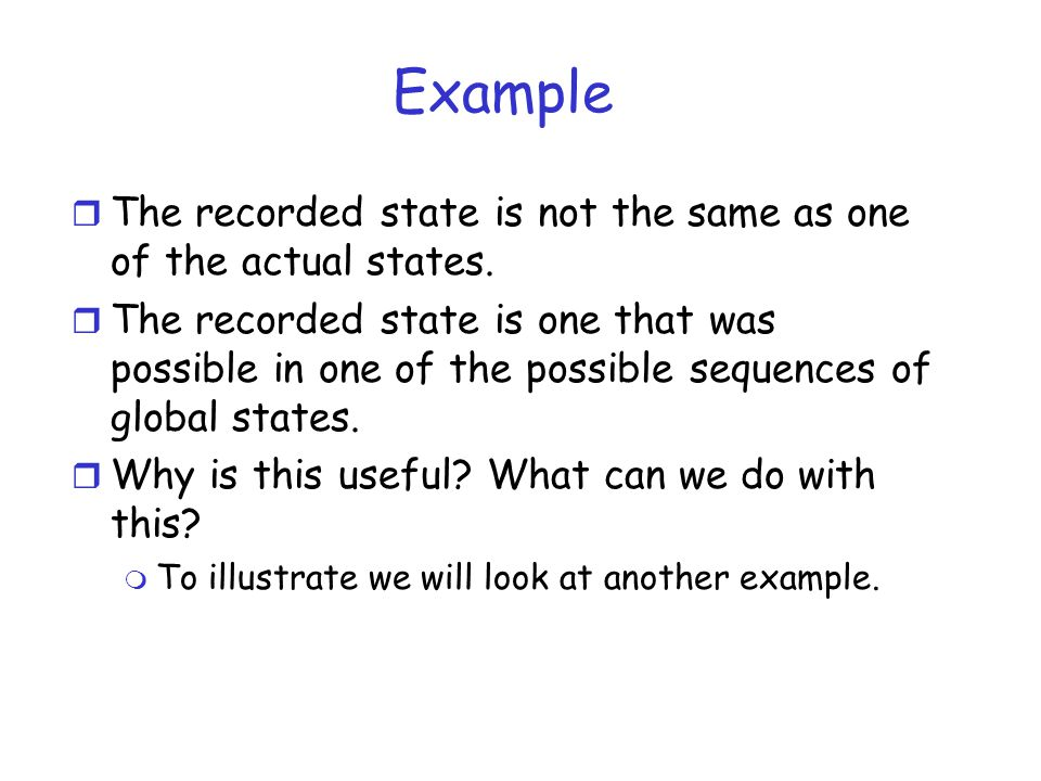 Example The recorded state is not the same as one of the actual states.