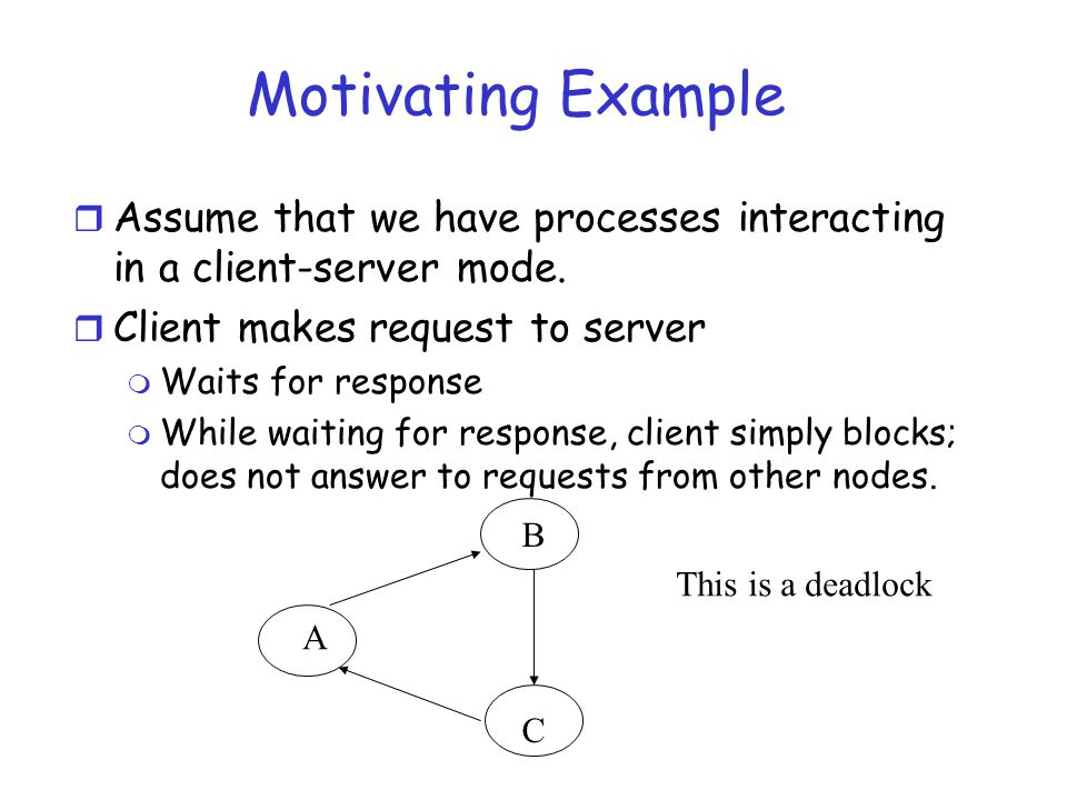 Motivating Example Assume that we have processes interacting in a client-server mode. Client makes request to server.