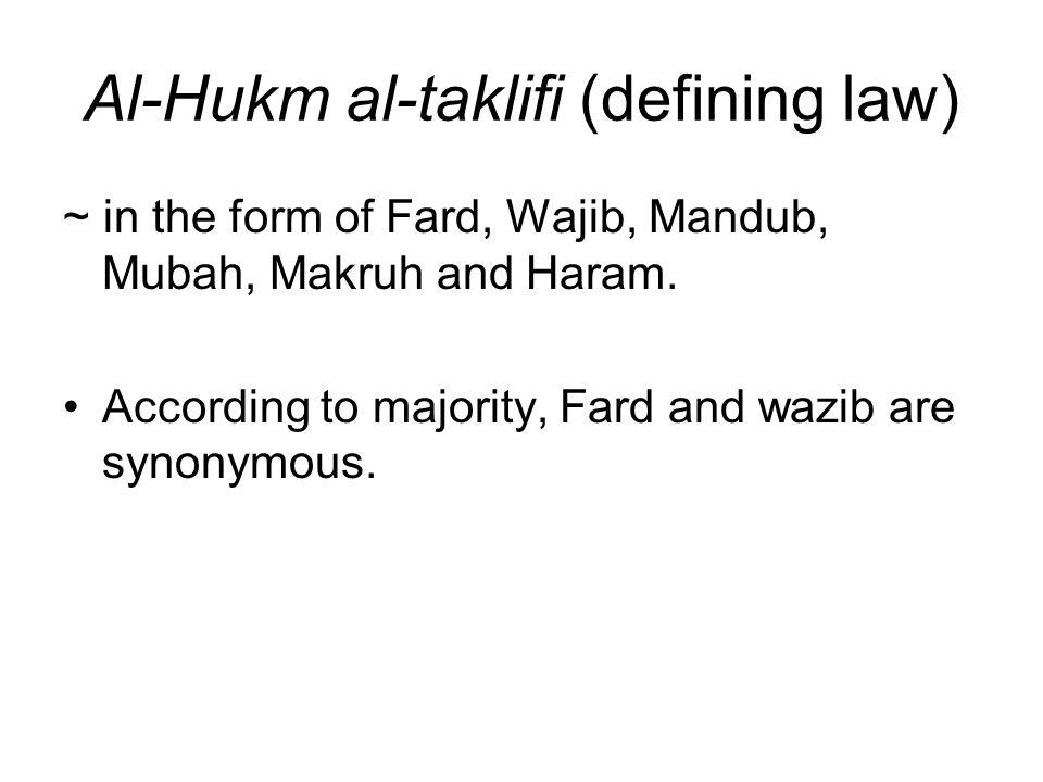 Al-Hukm al-taklifi (defining law)