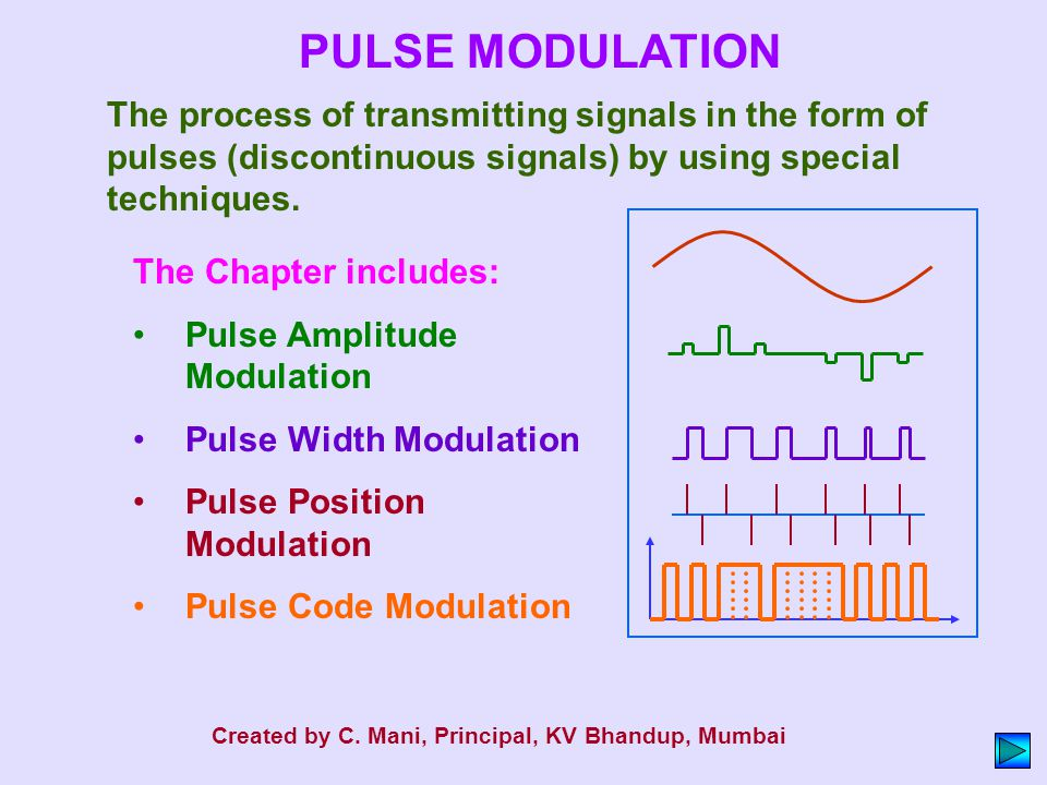 PULSE MODULATION The process of transmitting signals in the form of pulses (discontinuous signals) by using special techniques.