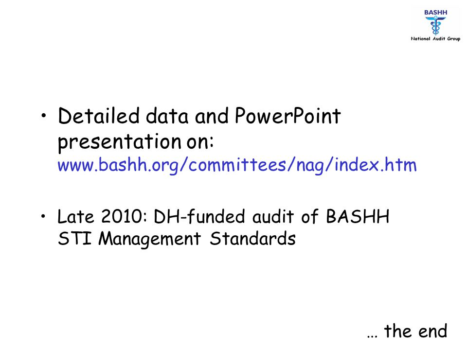 Detailed data and PowerPoint presentation on: www. bashh