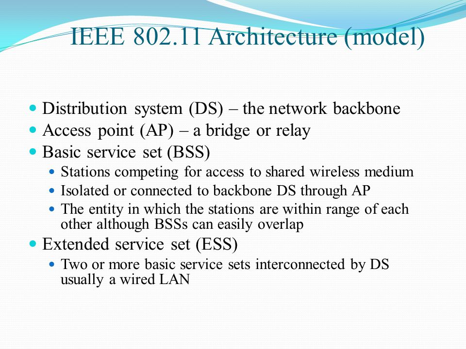 IEEE 802.11 Architecture (model)