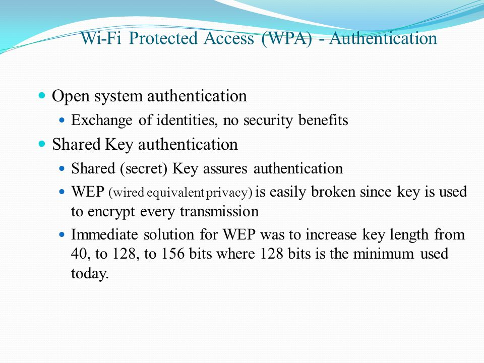 Wi-Fi Protected Access (WPA) - Authentication