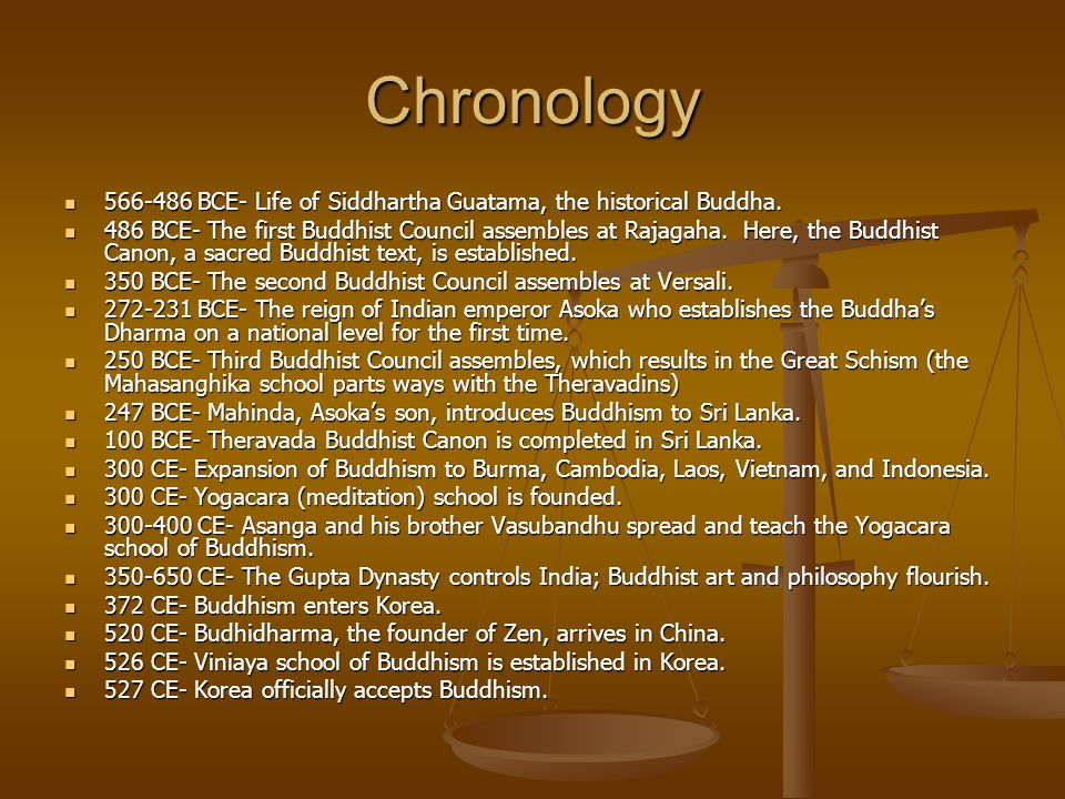 Chronology 566-486 BCE- Life of Siddhartha Guatama, the historical Buddha.