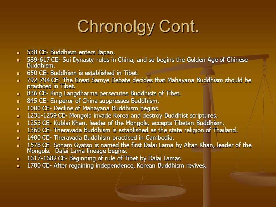 Chronolgy Cont. 538 CE- Buddhism enters Japan.