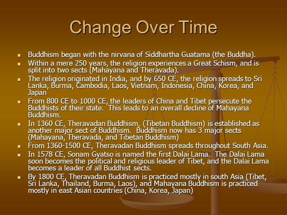 Change Over Time Buddhism began with the nirvana of Siddhartha Guatama (the Buddha).