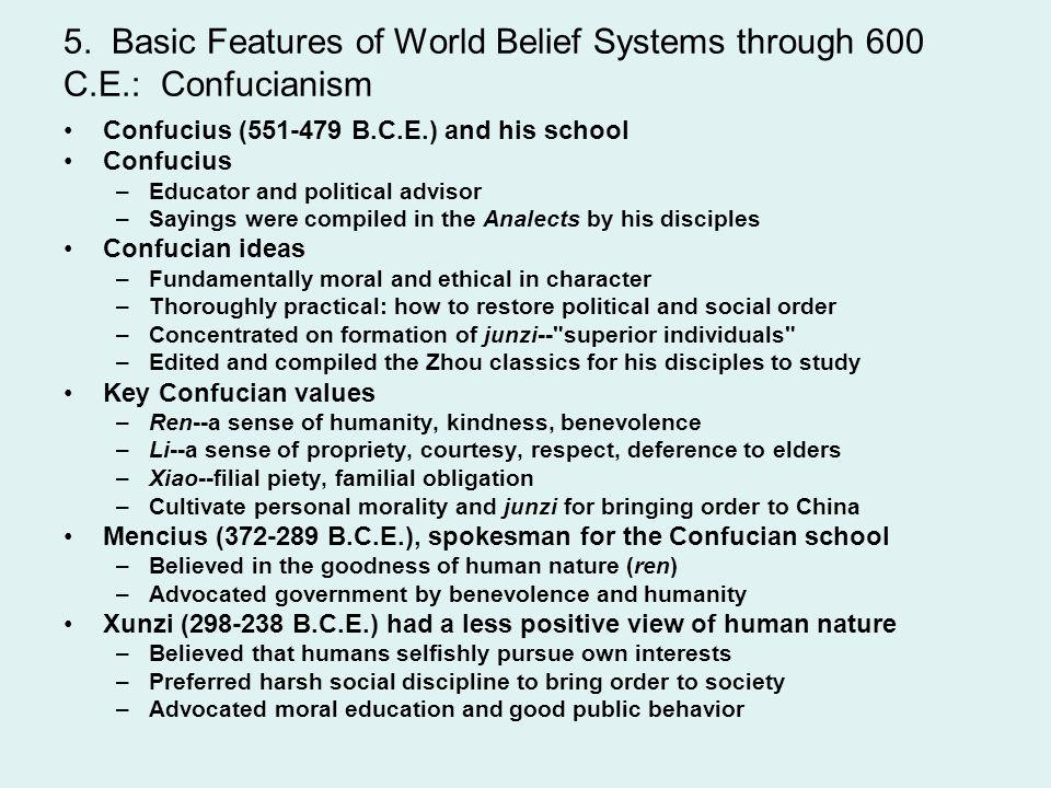 5. Basic Features of World Belief Systems through 600 C. E