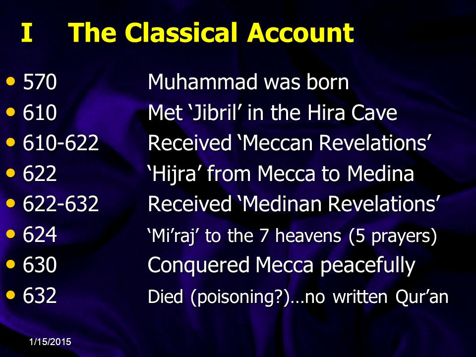 I The Classical Account