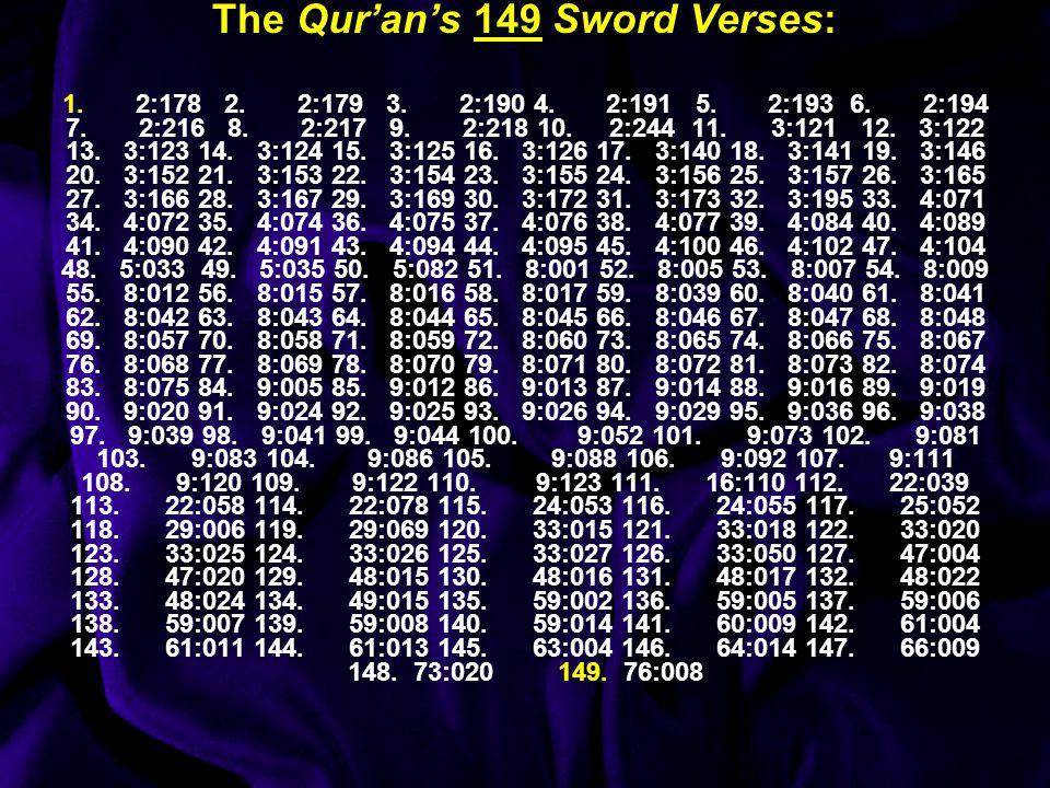The Qur'an's 149 Sword Verses: