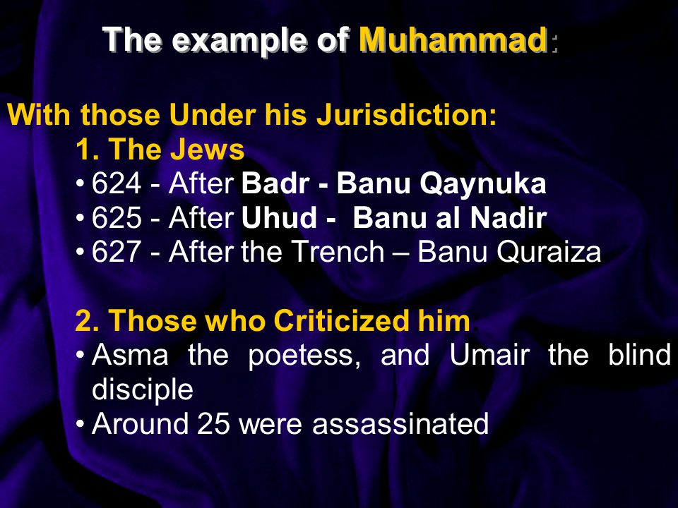The example of Muhammad: