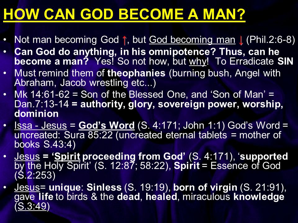 HOW CAN GOD BECOME A MAN Not man becoming God ↑, but God becoming man ↓ (Phil.2:6-8)