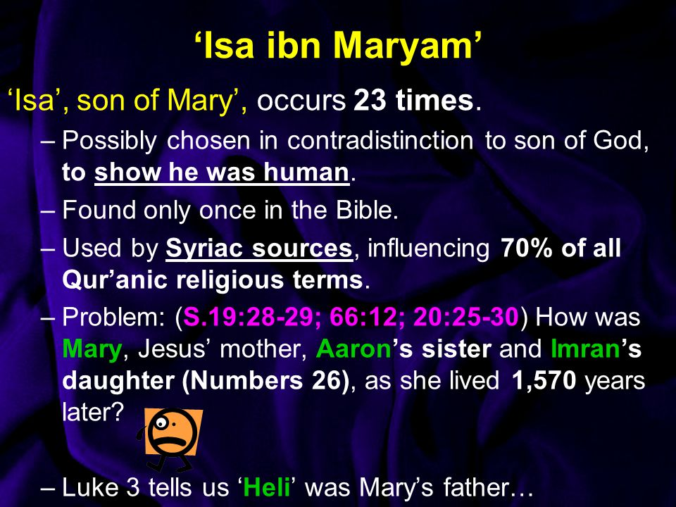 'Isa ibn Maryam' 'Isa', son of Mary', occurs 23 times.