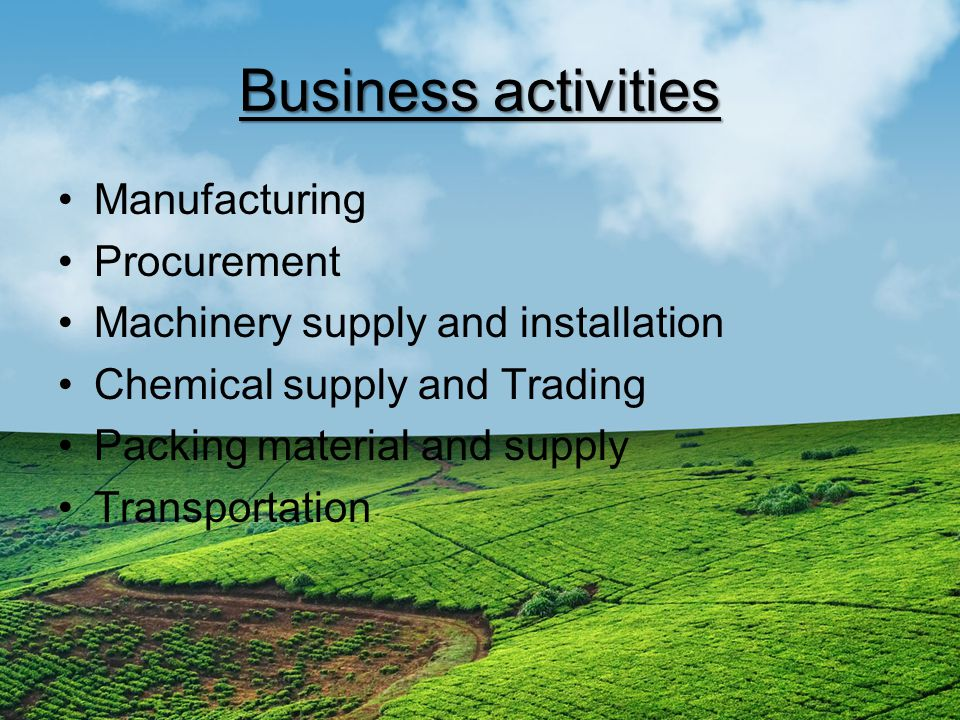 Business activities Manufacturing Procurement