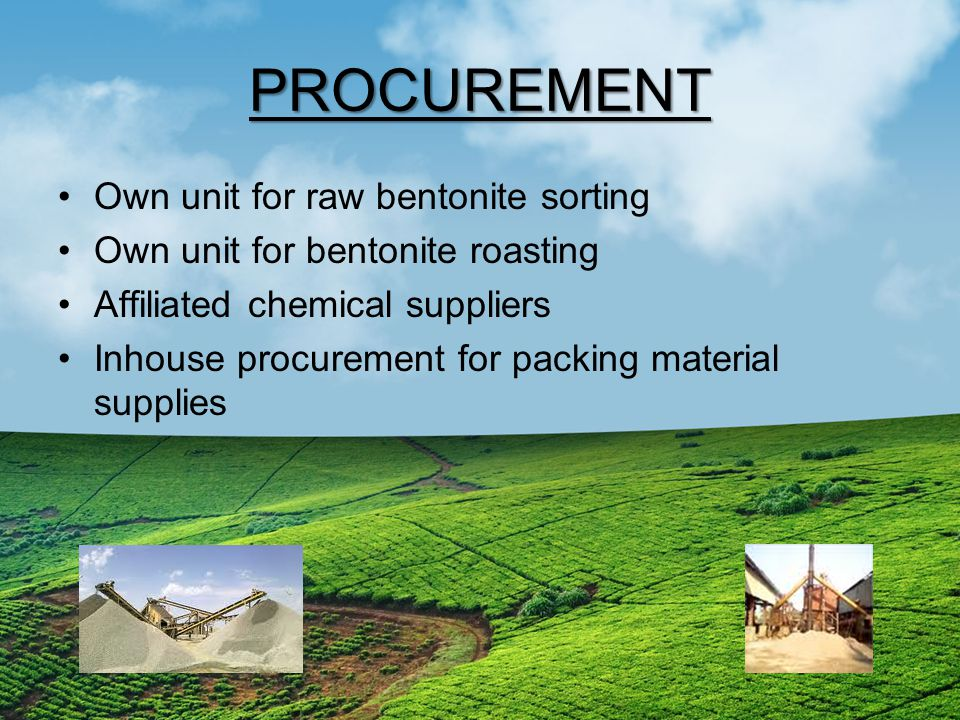 PROCUREMENT Own unit for raw bentonite sorting