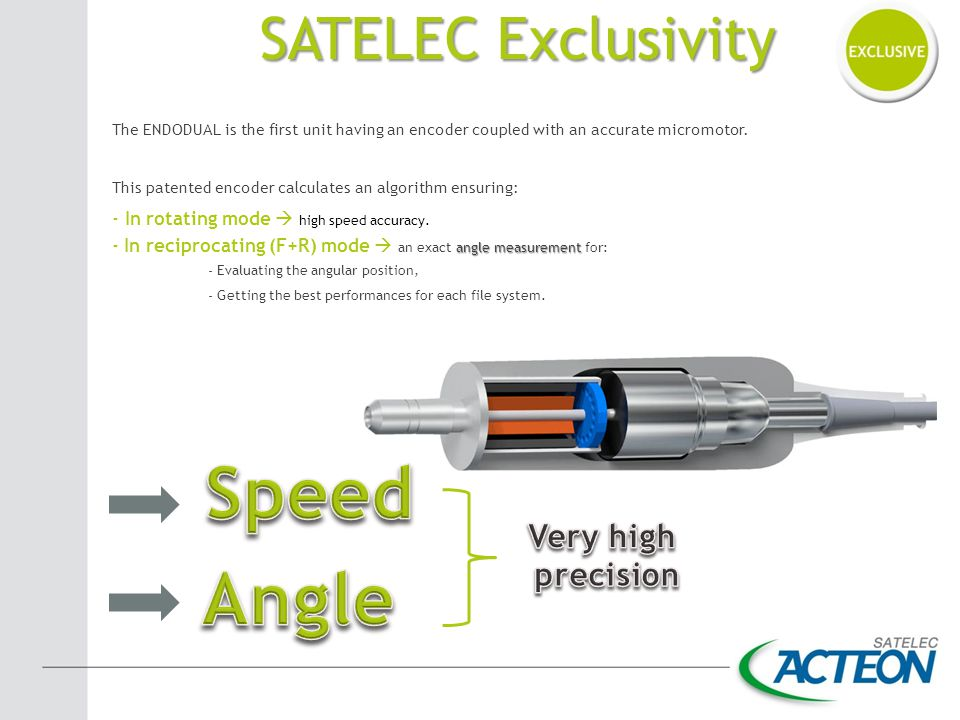 Speed Angle SATELEC Exclusivity Very high precision
