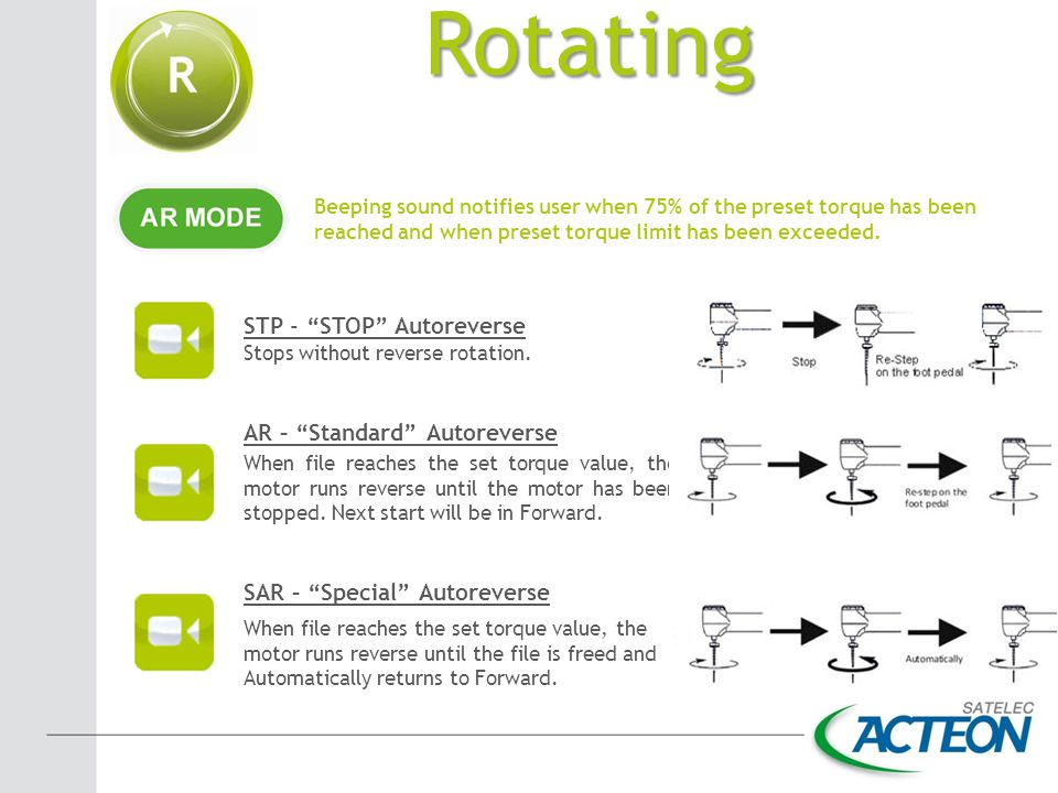 Rotating STP - STOP Autoreverse AR – Standard Autoreverse