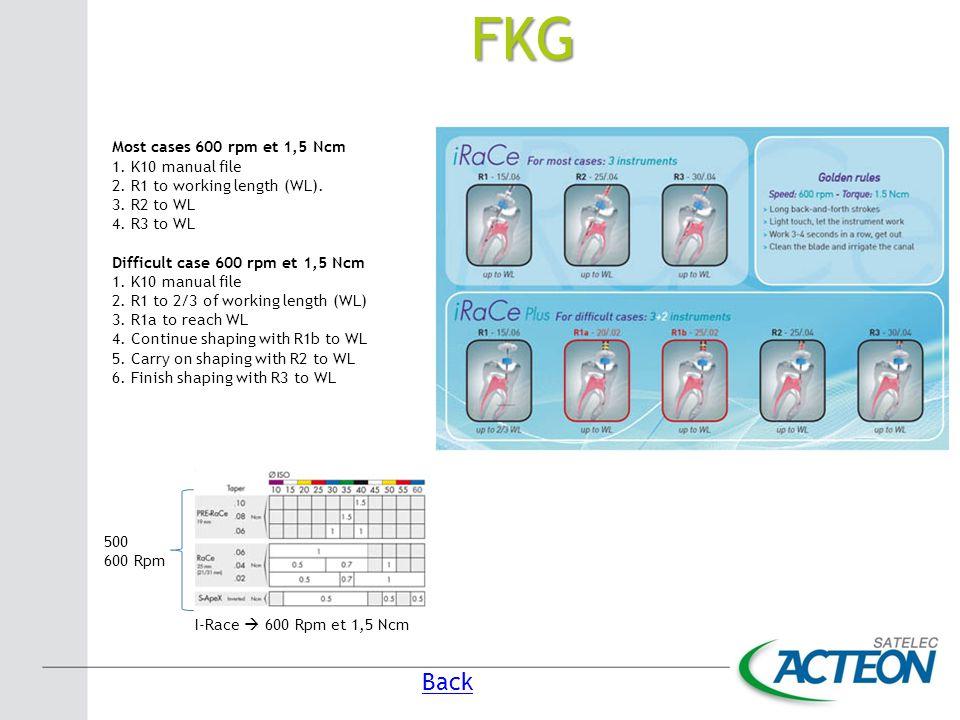 FKG Back Most cases 600 rpm et 1,5 Ncm 1. K10 manual file