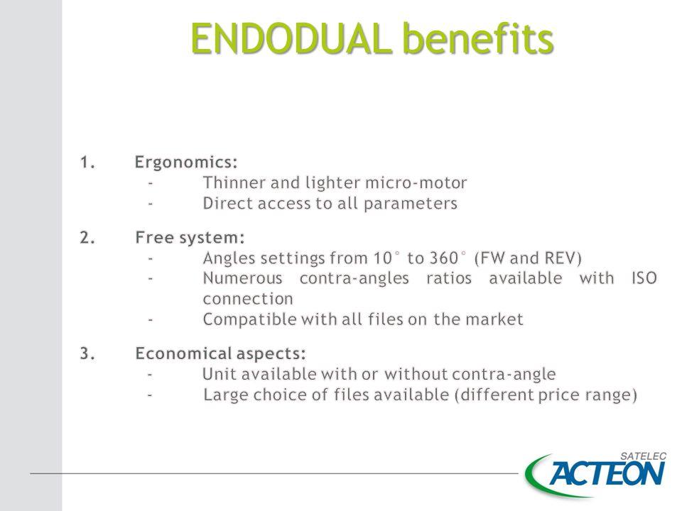 ENDODUAL benefits Ergonomics: Thinner and lighter micro-motor