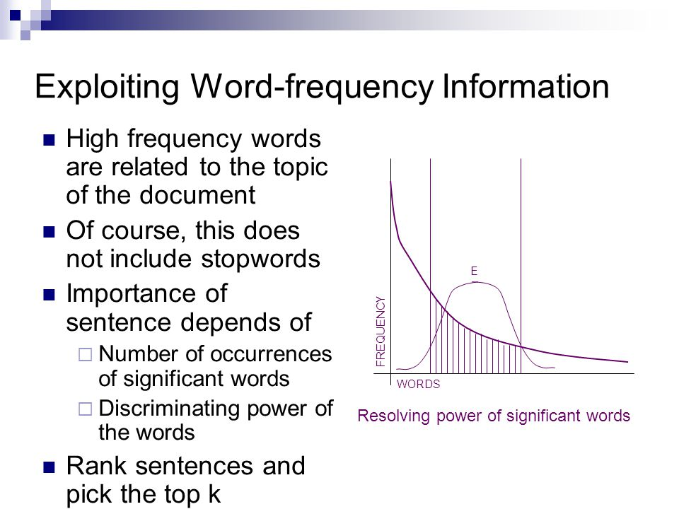 Exploiting Word-frequency Information