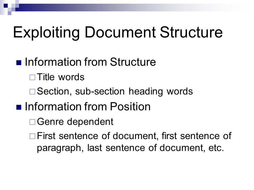Exploiting Document Structure