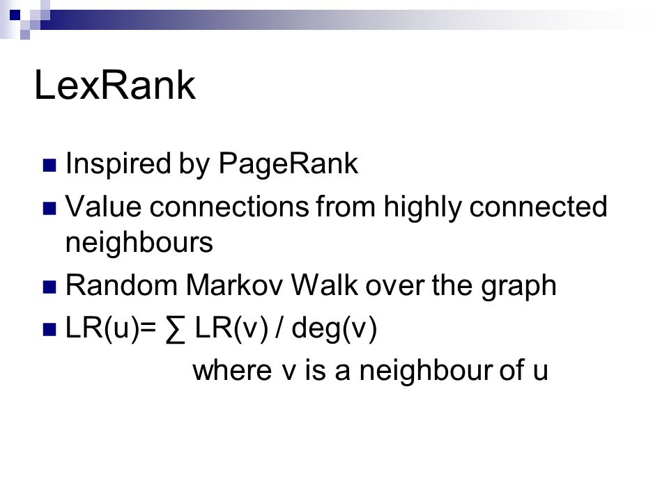 LexRank Inspired by PageRank
