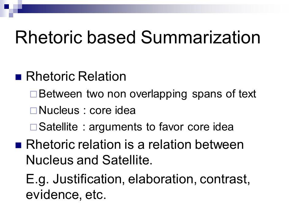 Rhetoric based Summarization