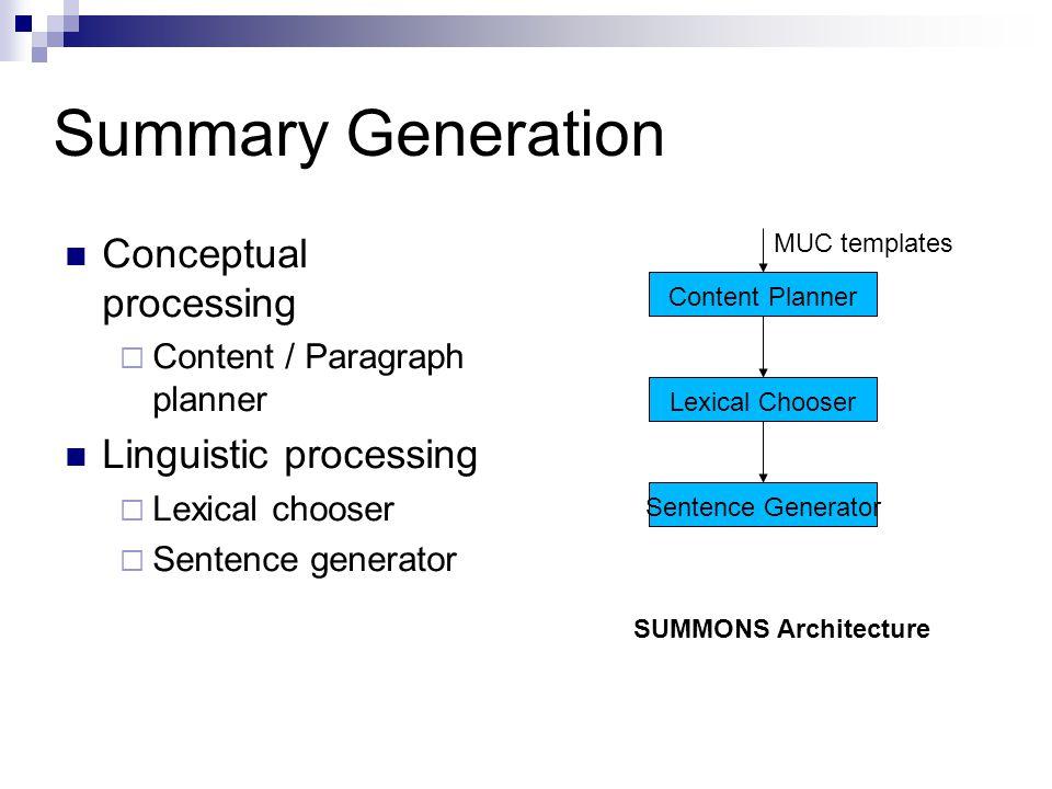 Summary Generation Conceptual processing Linguistic processing