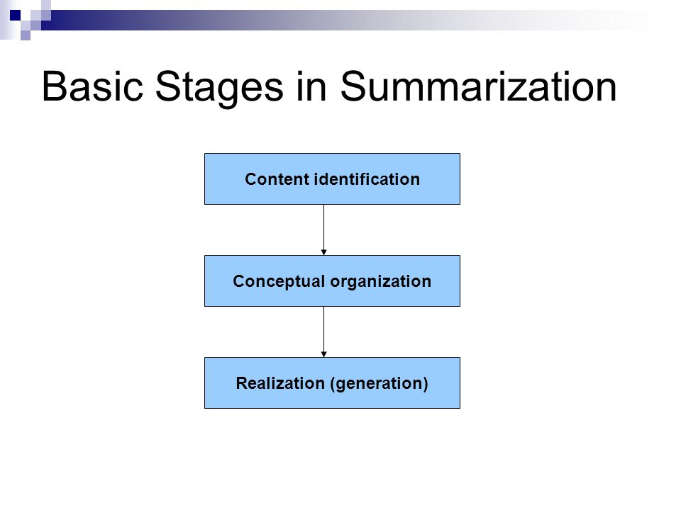 Basic Stages in Summarization