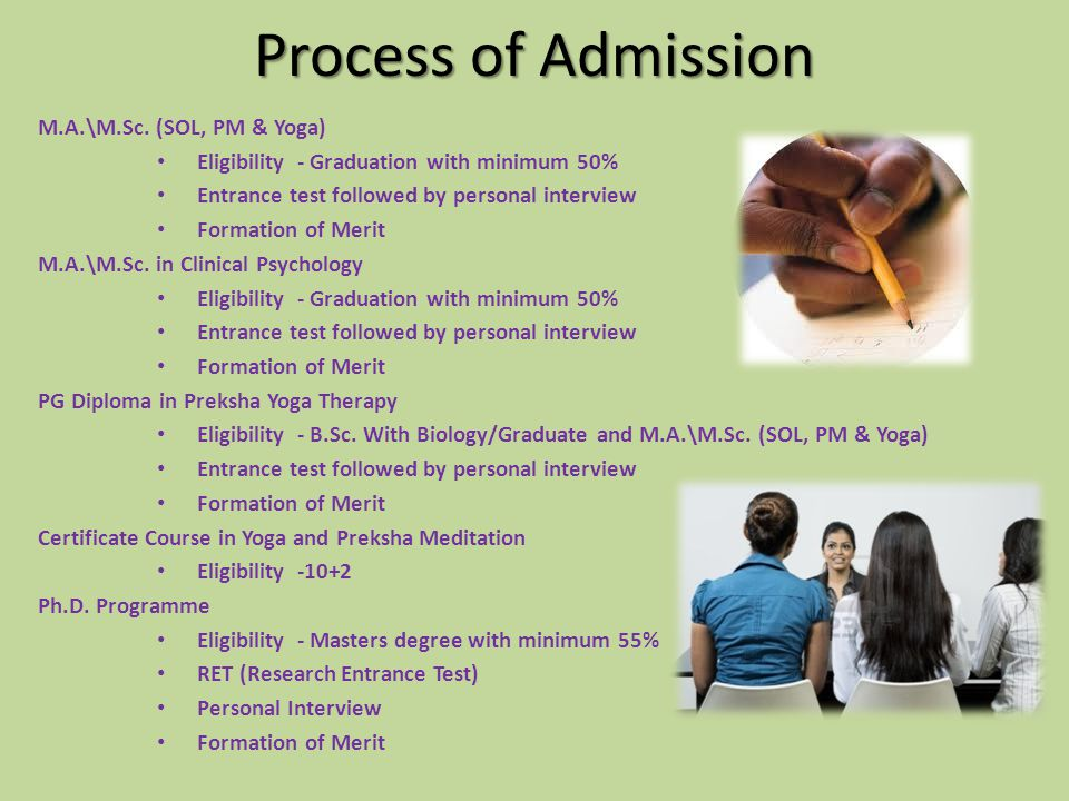 Process of Admission M.A.\M.Sc. (SOL, PM & Yoga)