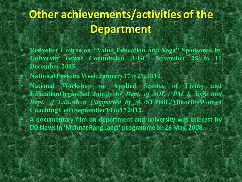Other achievements/activities of the Department