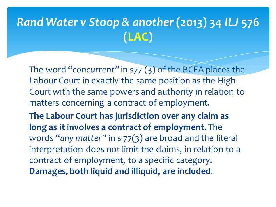 Rand Water v Stoop & another (2013) 34 ILJ 576 (LAC)