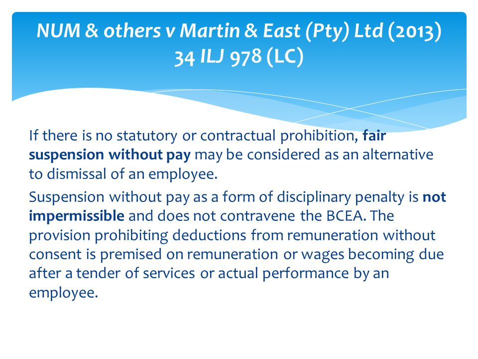 NUM & others v Martin & East (Pty) Ltd (2013) 34 ILJ 978 (LC)