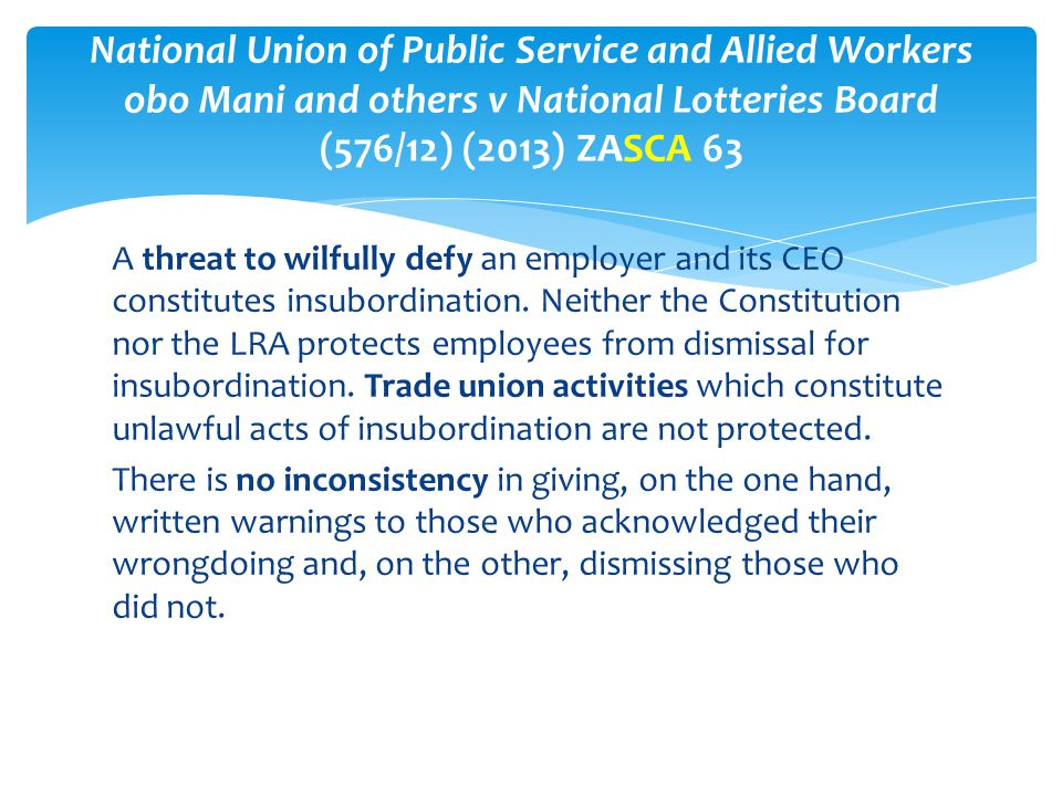 National Union of Public Service and Allied Workers obo Mani and others v National Lotteries Board (576/12) (2013) ZASCA 63