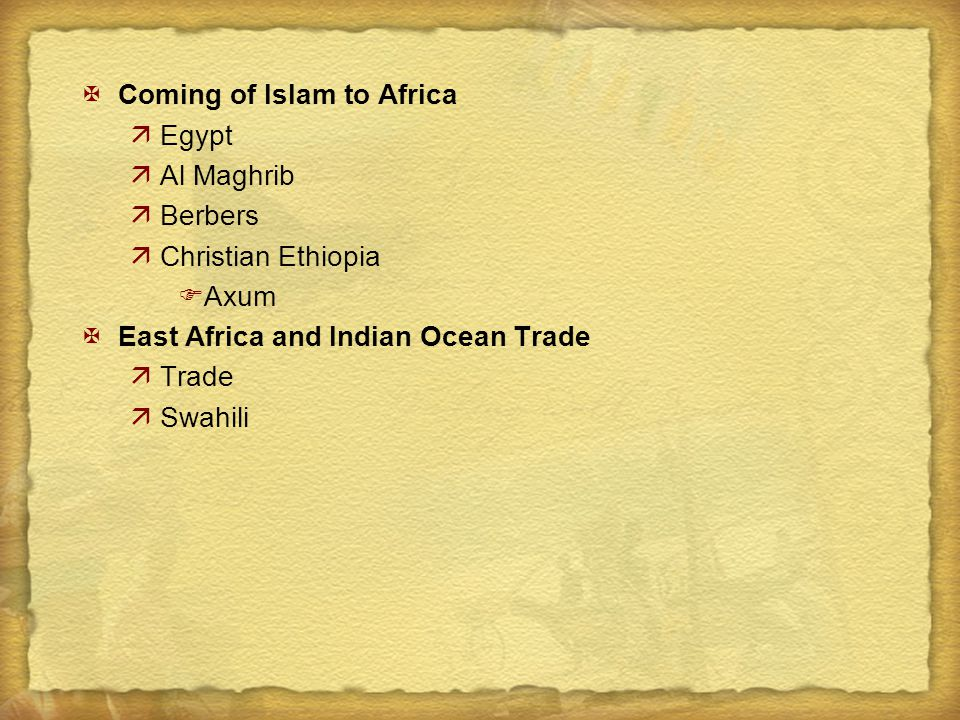 Coming of Islam to Africa