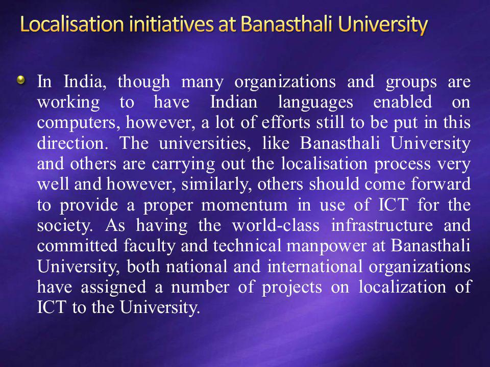 Localisation initiatives at Banasthali University
