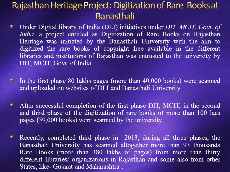 Rajasthan Heritage Project: Digitization of Rare Books at Banasthali