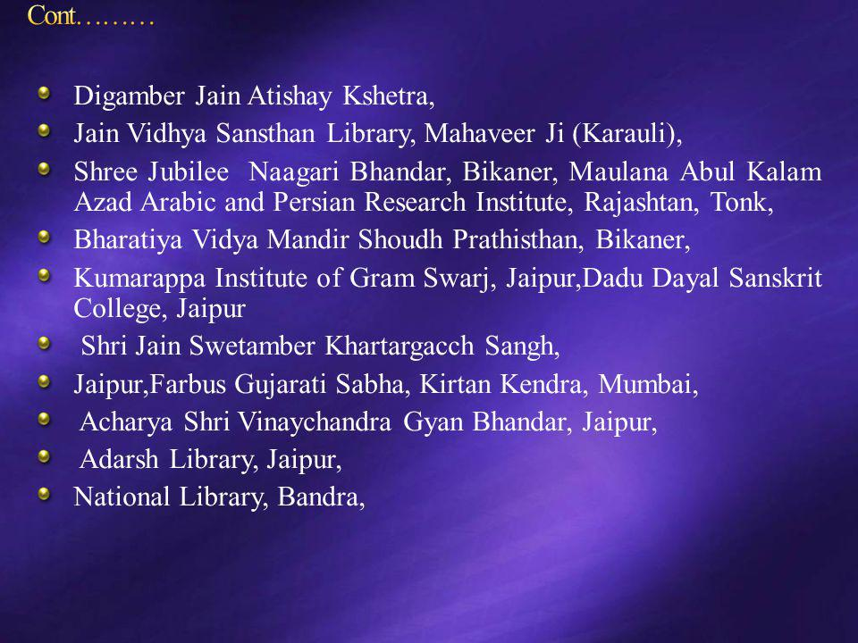Cont……… Digamber Jain Atishay Kshetra, Jain Vidhya Sansthan Library, Mahaveer Ji (Karauli),