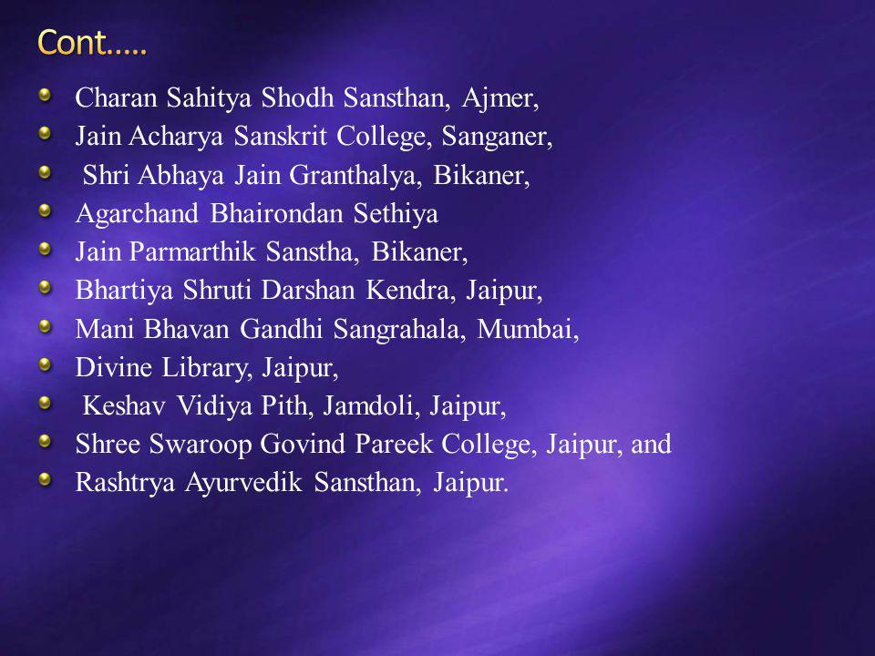 Cont….. Charan Sahitya Shodh Sansthan, Ajmer,
